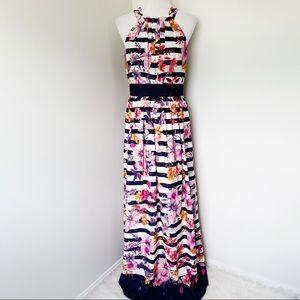 ELIZA J Striped Floral Crepe Halter Dress Size 6